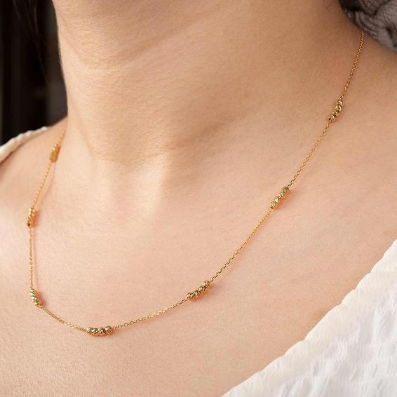 Mücevher Dünyası - 22 Ayar Dörtlü Dorika Toplu Altın Kolye - 3,24 Gr. - 45 Cm.
