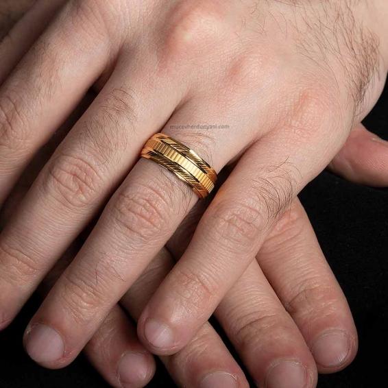Mücevher Dünyası - 22 Ayar Erkek Altın Alyans - 2,47 Gr. - 13