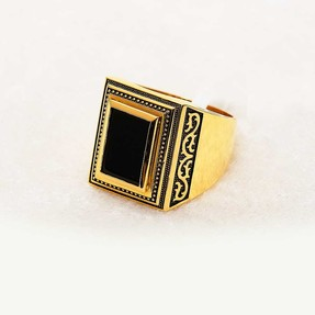 Mücevher Dünyası - 22 Ayar Altın Erkek Yüzük - 14.06 Gr.