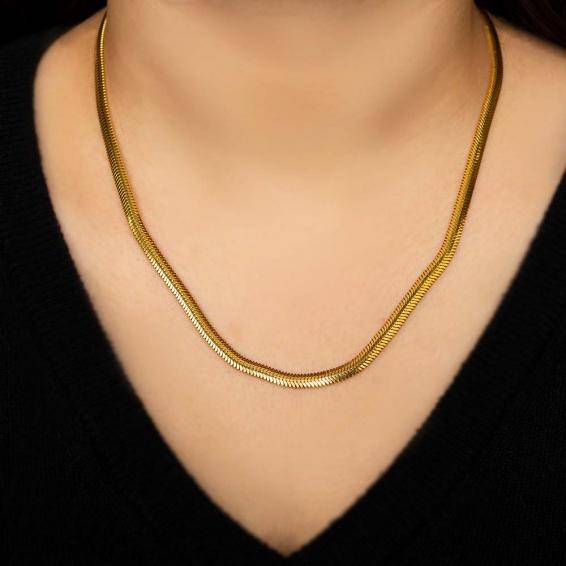 Mücevher Dünyası - 22 Ayar Ezme Altın Zincir - 44 Cm. - 17,65 Gr. - 4,25 Mm.