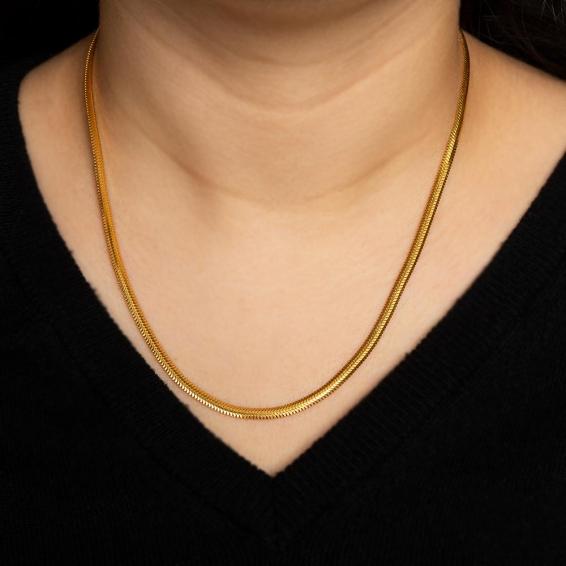Mücevher Dünyası - 22 Ayar Ezme Altın Zincir - 45,5 Cm. - 11,91 Gr. - 3,37 Mm.