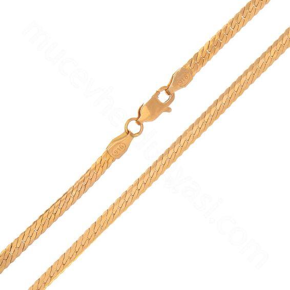 Mücevher Dünyası - 22 Ayar Ezme Altın Zincir - 50 Cm - 14,93 Gr.