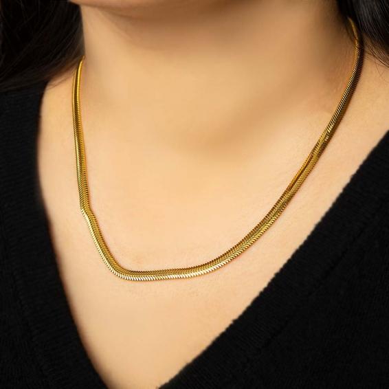 Mücevher Dünyası - 22 Ayar Ezme Altın Zincir - 50 Cm. - 19,12 Gr. - 4,27 Mm.