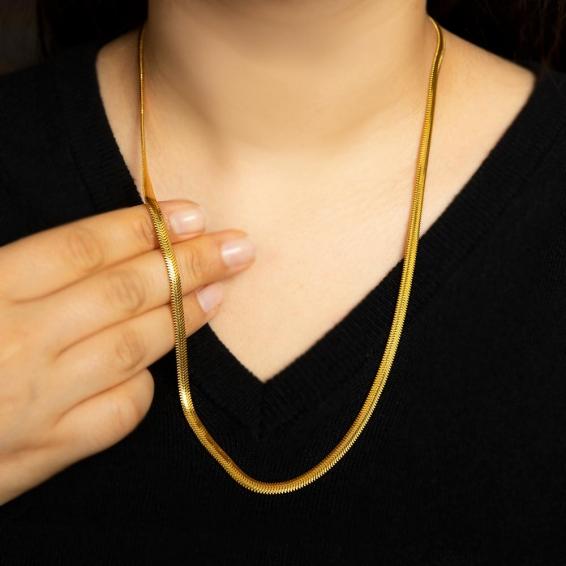 Mücevher Dünyası - 22 Ayar Ezme Altın Zincir - 59,5 Cm. - 23,24 Gr. - 4,25 Mm.