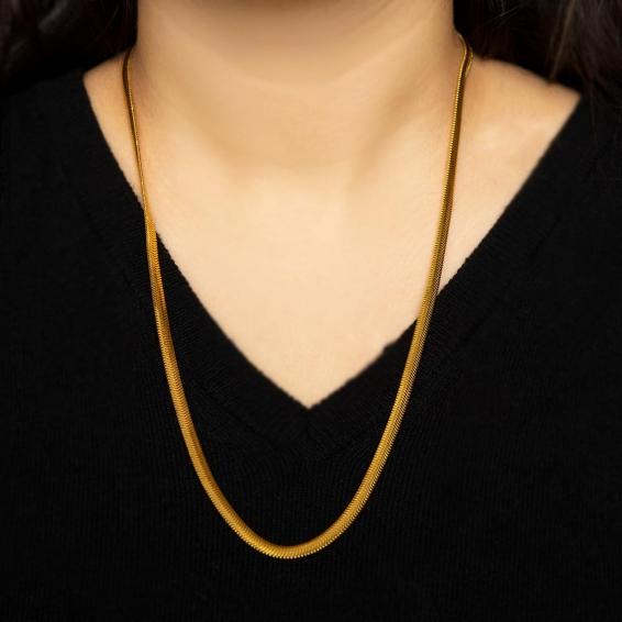 Mücevher Dünyası - 22 Ayar Ezme Altın Zincir - 60,5 Cm. - 25,75 Gr. - 4,25 Mm.