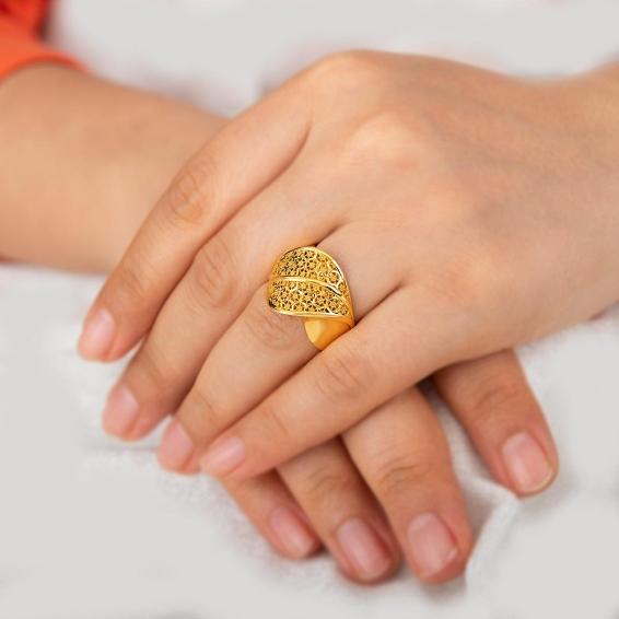 Mücevher Dünyası - 22 Ayar Füzyon Altın Fantezi Yüzük - 8,23 Gr. - 18