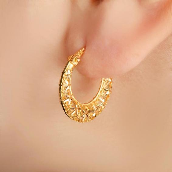 Mücevher Dünyası - 22 Ayar Füzyon Halka Altın Küpe - 3,61 Gr.
