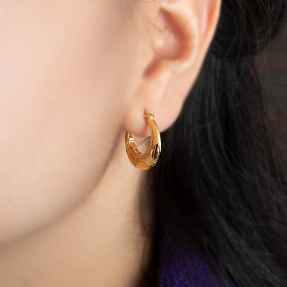 Mücevher Dünyası - 22 Ayar Füzyon Halka Altın Küpe - 4,67 Gr.