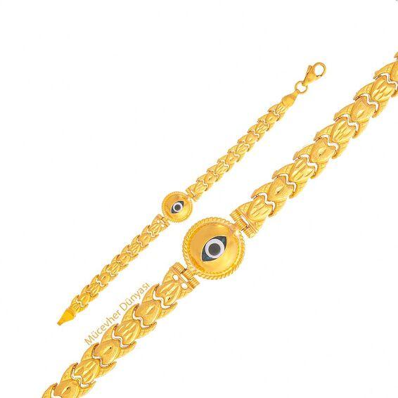 Mücevher Dünyası - 22 Ayar Göz Motifli Çocuk Altın Bileklik - 7,89 Gr.