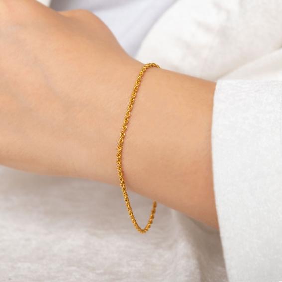 Mücevher Dünyası - 22 Ayar Halat Altın Bileklik - 1,94 Gr. - 22 Cm. - 2 Mm.