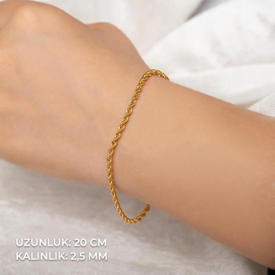 Mücevher Dünyası - 22 Ayar Halat Altın Bileklik - 2,67 Gr. - 20 Cm. - 2,5 Mm.
