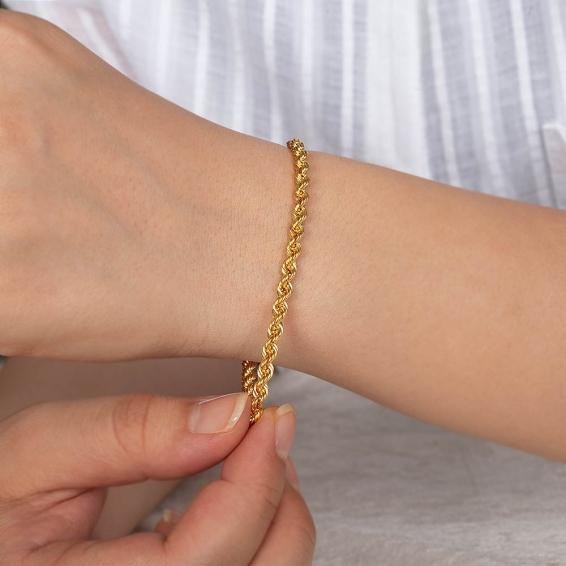 Mücevher Dünyası - 22 Ayar Halat Altın Bileklik - 4,68 Gr. - 19 Cm. - 3,8 Mm.