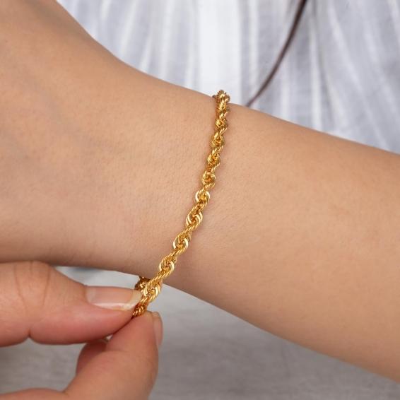 Mücevher Dünyası - 22 Ayar Halat Altın Bileklik - 5 Gr. - 19 Cm. - 4 Mm.