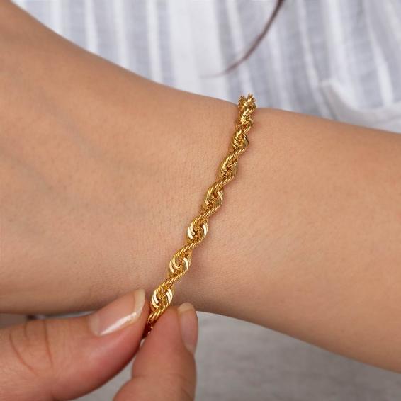 Mücevher Dünyası - 22 Ayar Halat Altın Bileklik - 5,9 Gr. - 19,5 Cm. - 4,72 Mm.