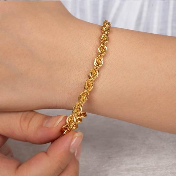 Mücevher Dünyası - 22 Ayar Halat Altın Bileklik - 8,19 Gr. - 20,5 Cm. - 5,8 Mm.