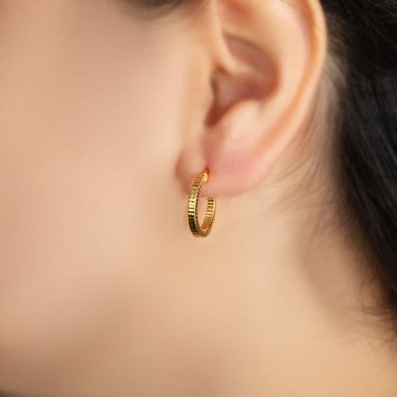 Mücevher Dünyası - 22 Ayar Halka Altın Küpe - 2,77 Gr.