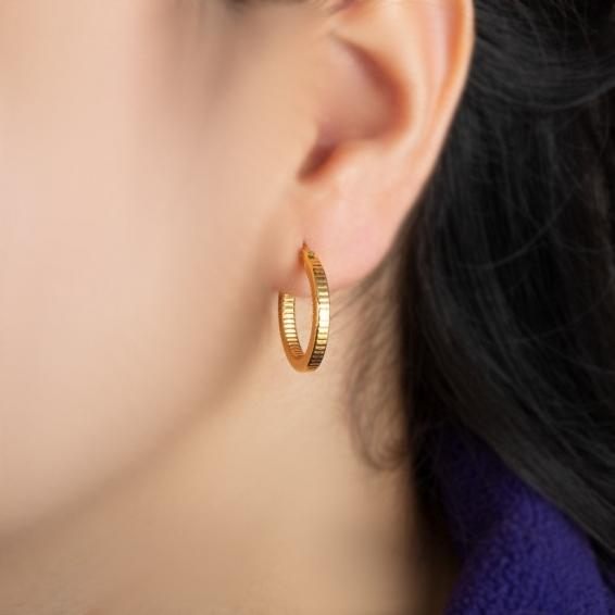 Mücevher Dünyası - 22 Ayar Halka Altın Küpe - 3,26 Gr.