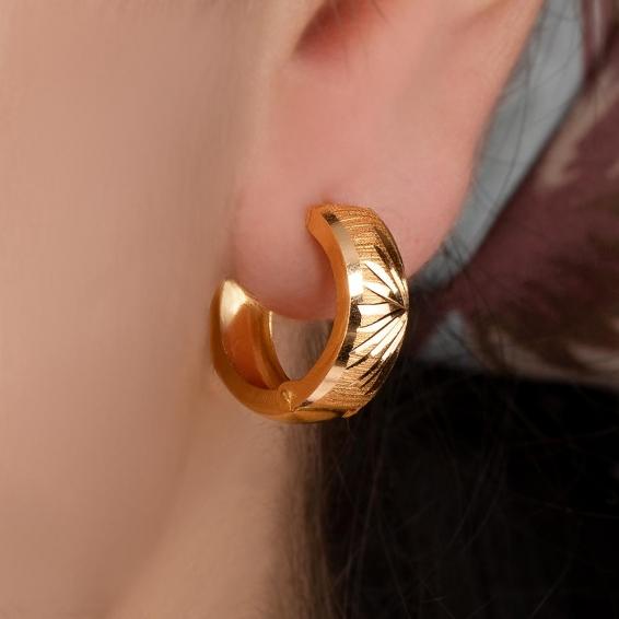 Mücevher Dünyası - 22 Ayar Halka Altın Küpe - 3,39 Gr.