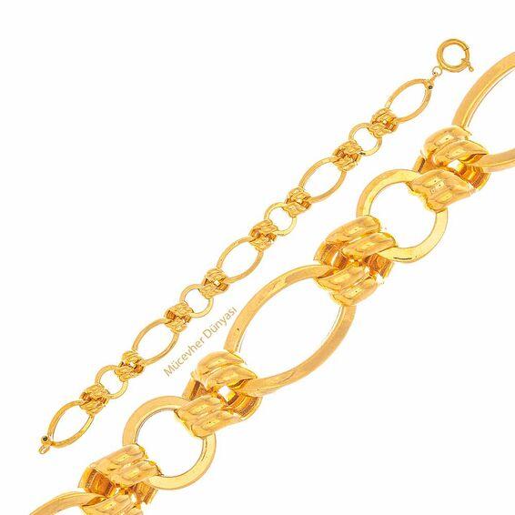 Mücevher Dünyası - 22 Ayar Halka Tasarım Altın Bileklik - 15,97 Gr.