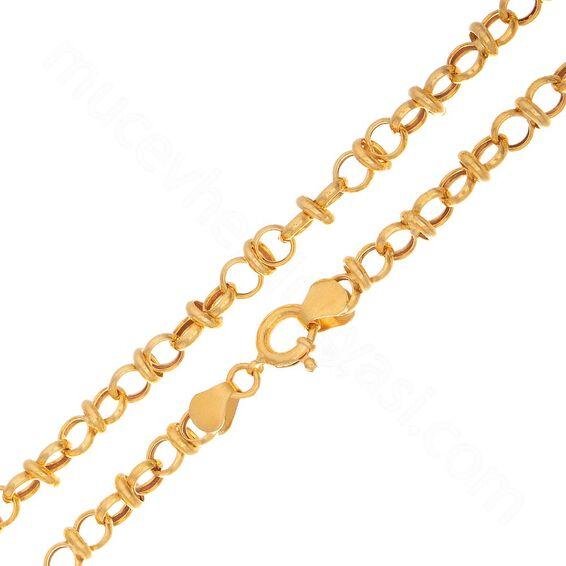 Mücevher Dünyası - 22 Ayar Halka Tasarım Altın Zincir 50 Cm - 11,07 Gr.