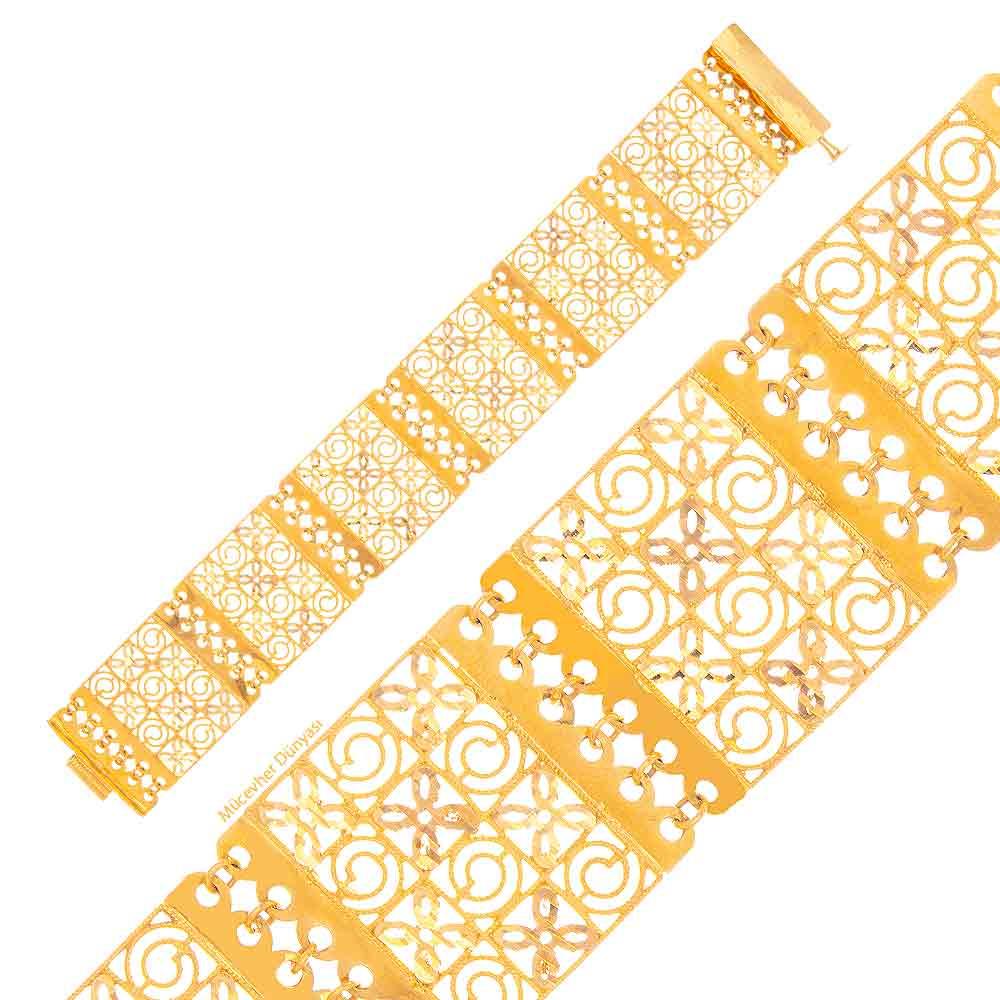 Mücevher Dünyası - 22 Ayar Desenli Özel Tasarım Altın Bileklik - 28.47 Gr.