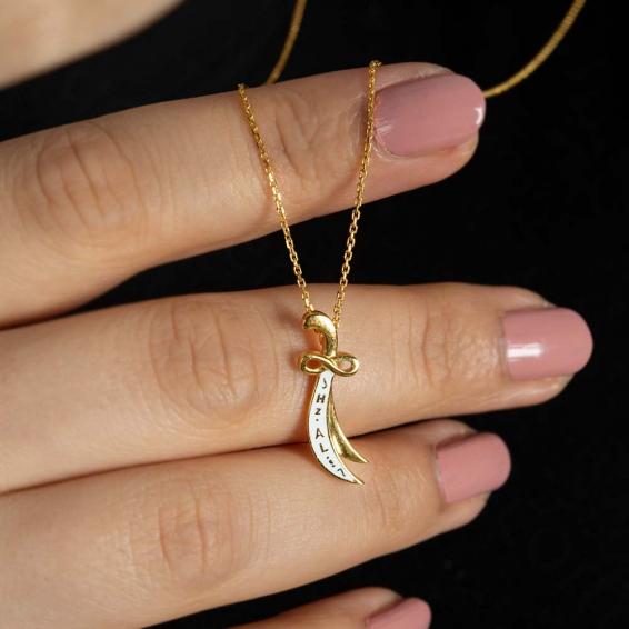 Mücevher Dünyası - 22 Ayar Hz. Ali Yazılı Zülfikar Kolye - 3,41 Gr.