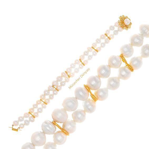 Mücevher Dünyası - 22 Ayar İnci Altın Bileklik - 6,64 Gr.