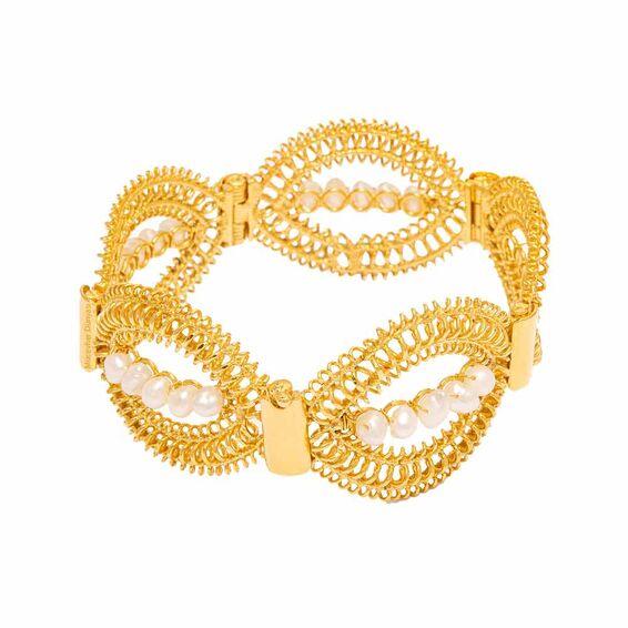 Mücevher Dünyası - 22 Ayar İnci Taşlı Özel Tasarım Altın Kelepçe - 58,70 Gr.