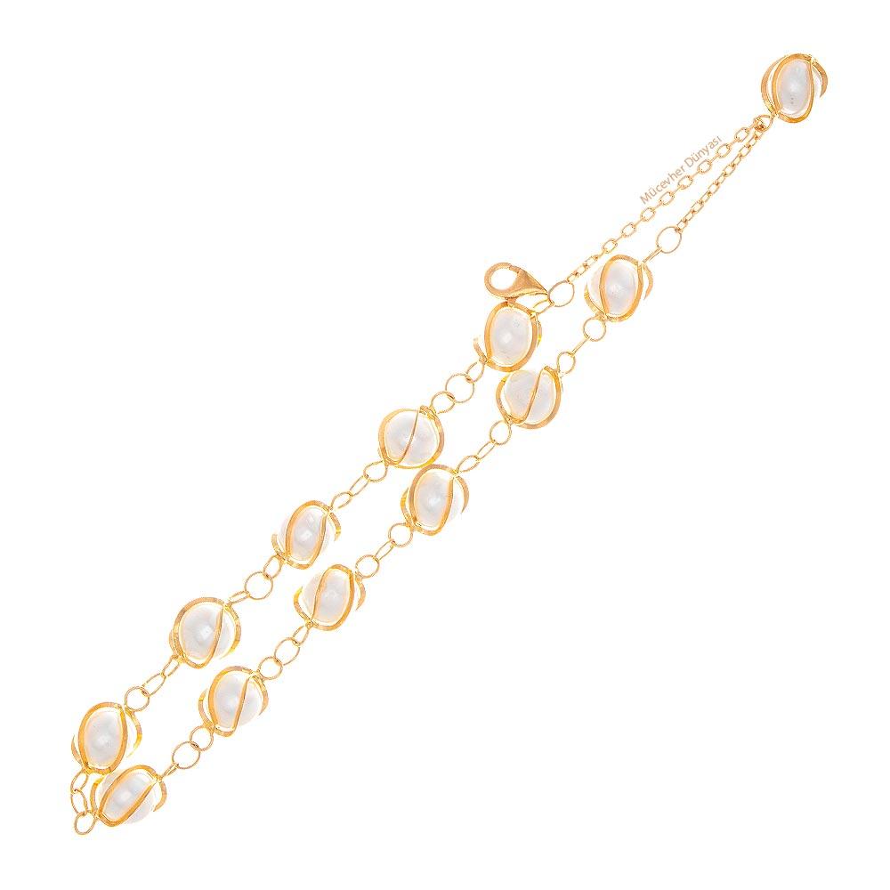 Mücevher Dünyası - 22 Ayar İncili Altın Bileklik - 5.52 Gr.