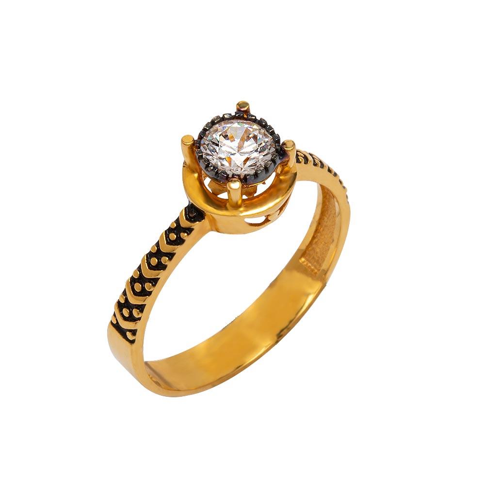 Mücevher Dünyası - 22 Ayar İşlemeli Tek Taş Fantezi Altın Yüzük - 3.34 Gr.