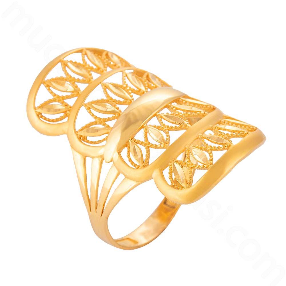 Mücevher Dünyası - 22 Ayar Kaburga Altın Fantezi Yüzük - 3,96 Gr.