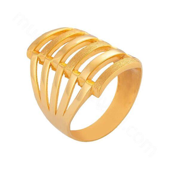 Mücevher Dünyası - 22 Ayar Kaburga Altın Fantezi Yüzük - 6,45 Gr.