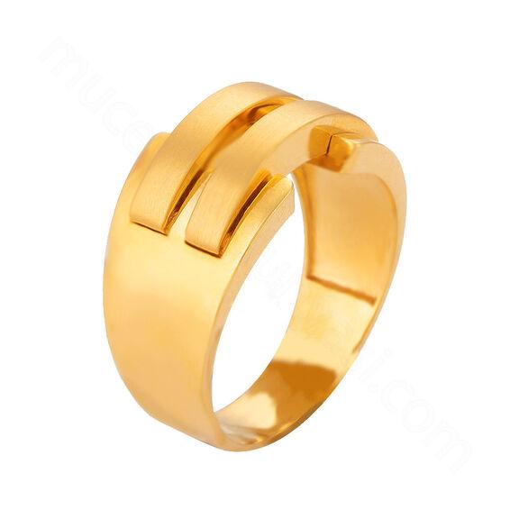 Mücevher Dünyası - 22 Ayar Kaburga Altın Fantezi Yüzük - 7,04 Gr.
