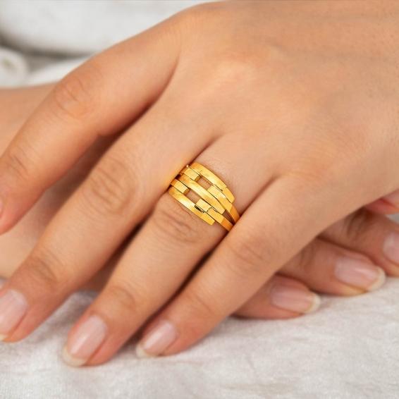Mücevher Dünyası - 22 Ayar Kaburga Altın Fantezi Yüzük - 7,43 Gr. - 18