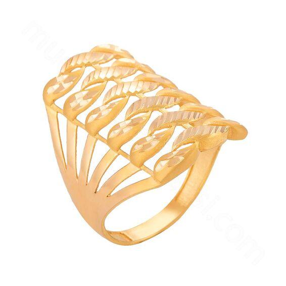 Mücevher Dünyası - 22 Ayar Kaburga Örgü Desenli Altın Fantezi Yüzük - 3,76 Gr.