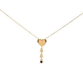 - 22 Ayar Kalp ve Üç Yıldız Altın Kolye | Mücevher Dünyası