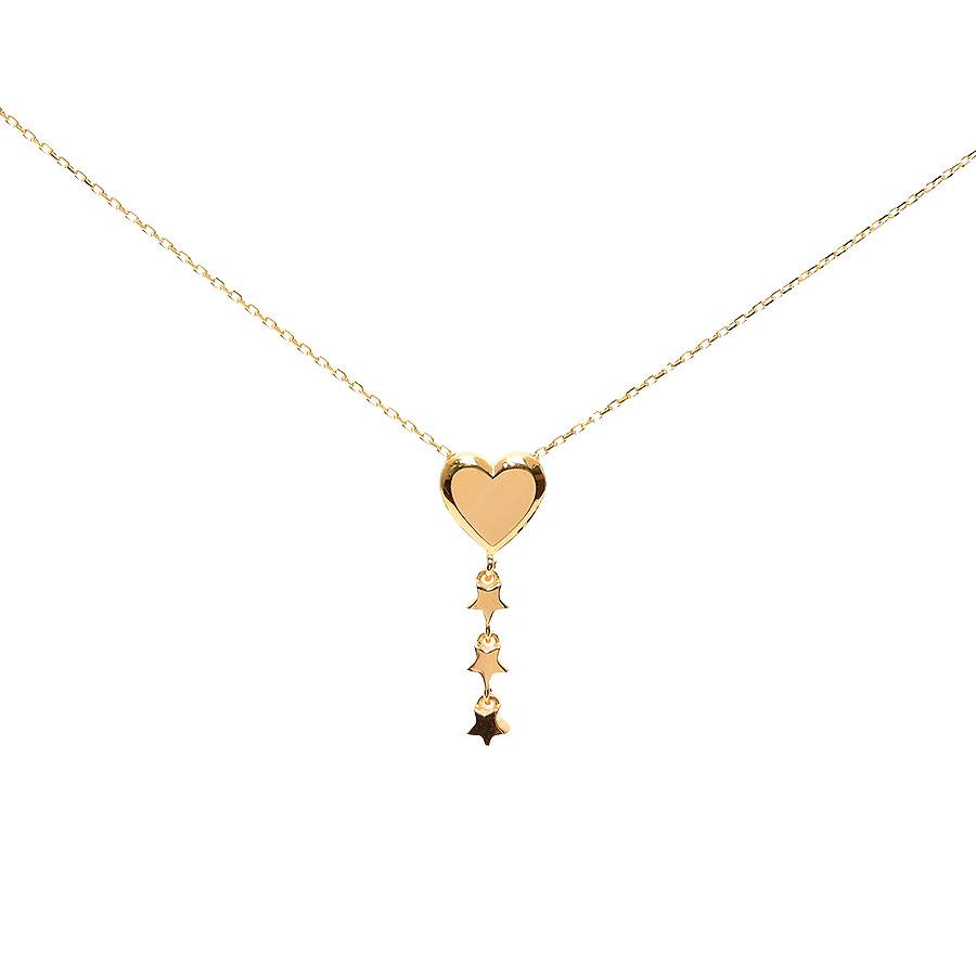 Mücevher Dünyası - 22 Ayar Kalp ve Üç Yıldız Altın Kolye - 2,70 Gr.