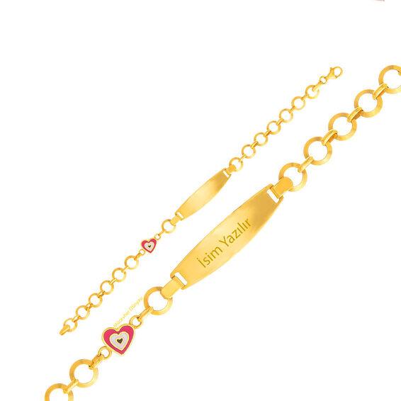 Mücevher Dünyası - 22 Ayar Kalpli Çocuk Altın Künye - 4,68 Gr.