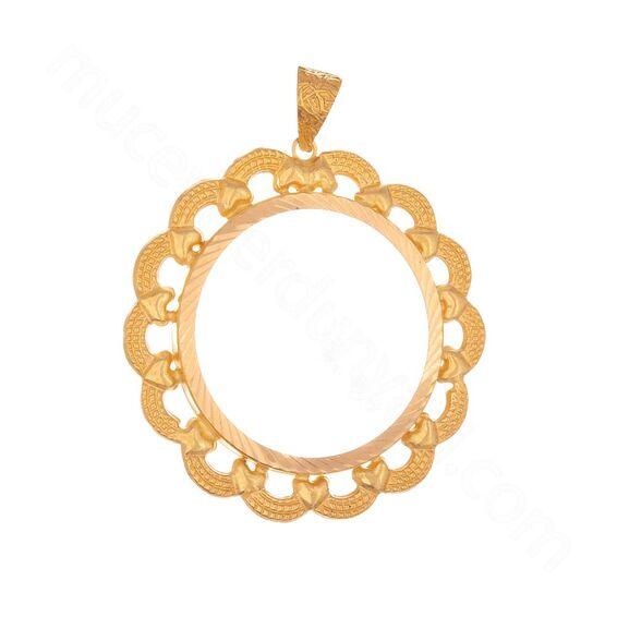Mücevher Dünyası - 22 Ayar Kalpli Halka Tasarım Altın Kolye Ucu - 2,40 Gr.