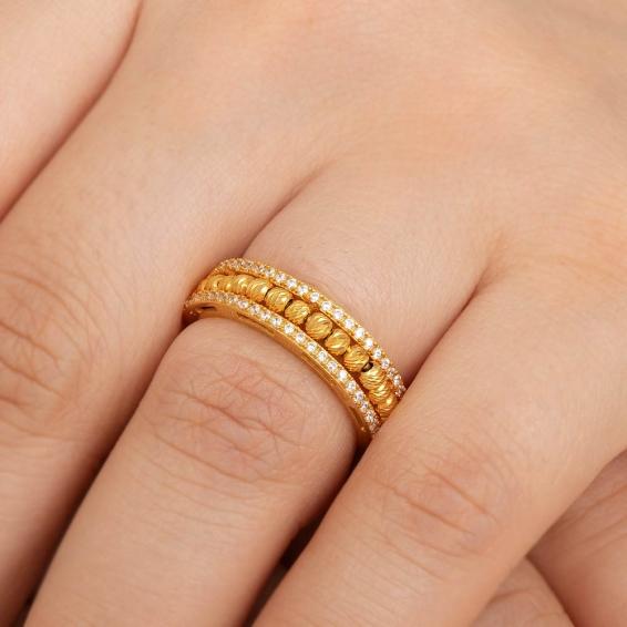 Mücevher Dünyası - 22 Ayar Kenar Taşlı Dorika Toplu Altın Fantezi Yüzük - 4,15 Gr. - 16