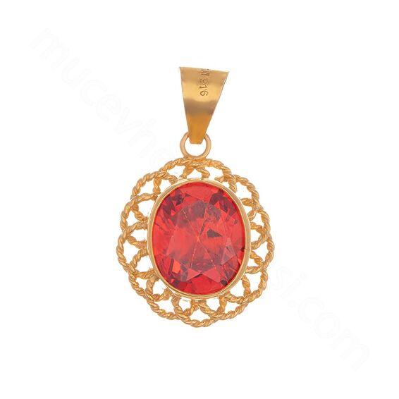 Mücevher Dünyası - 22 Ayar Kırmızı Taşlı Tasarım Altın Kolye Ucu - 6,00 Gr.