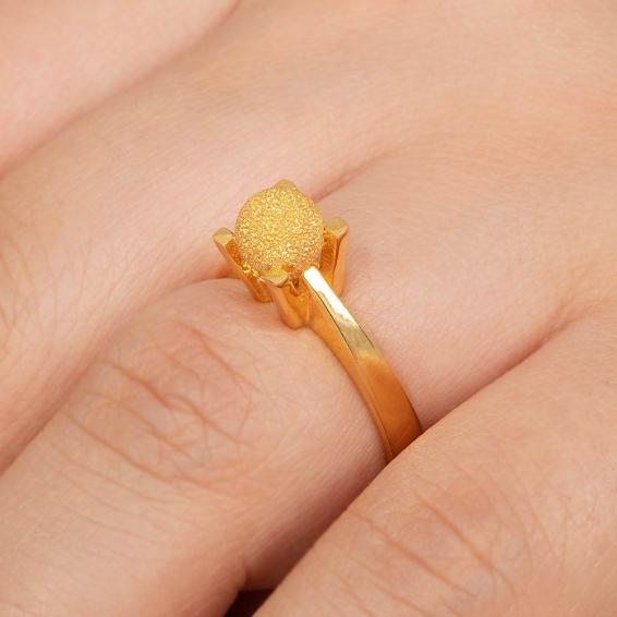 Mücevher Dünyası - 22 Ayar Kumlu Dorika Toplu Altın Fantezi Yüzük - 4,29 Gr. - 16