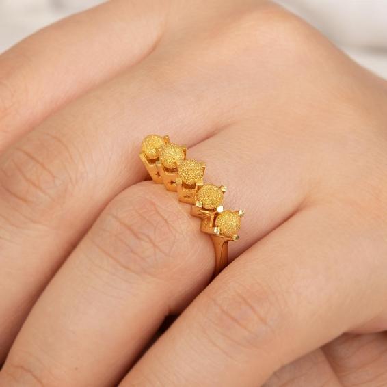 Mücevher Dünyası - 22 Ayar Kumlu Dorika Toplu Altın Fantezi Yüzük - 4,95 Gr. - 14