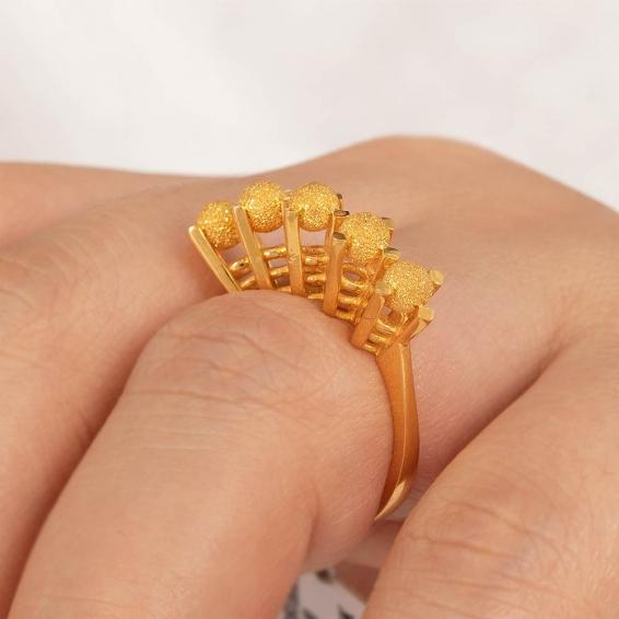 Mücevher Dünyası - 22 Ayar Kumlu Dorika Toplu Altın Fantezi Yüzük - 5,81 Gr. - 15