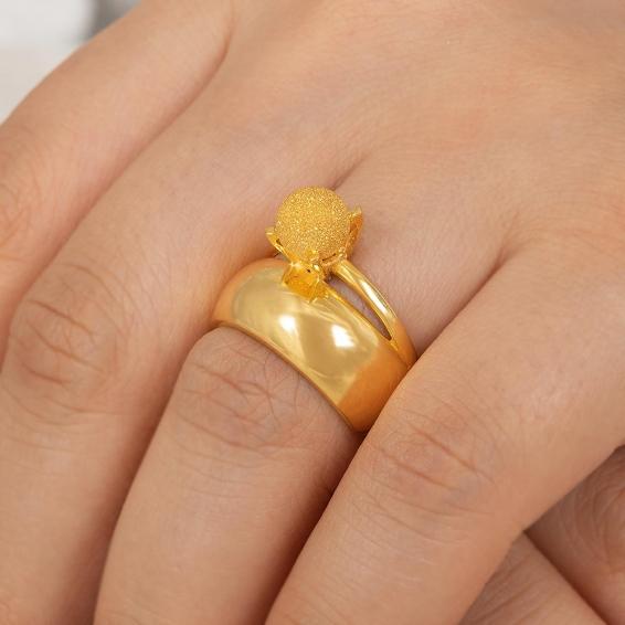 Mücevher Dünyası - 22 Ayar Kumlu Dorika Toplu Alyans Altın Fantezi Yüzük - 5,57 Gr. - 16