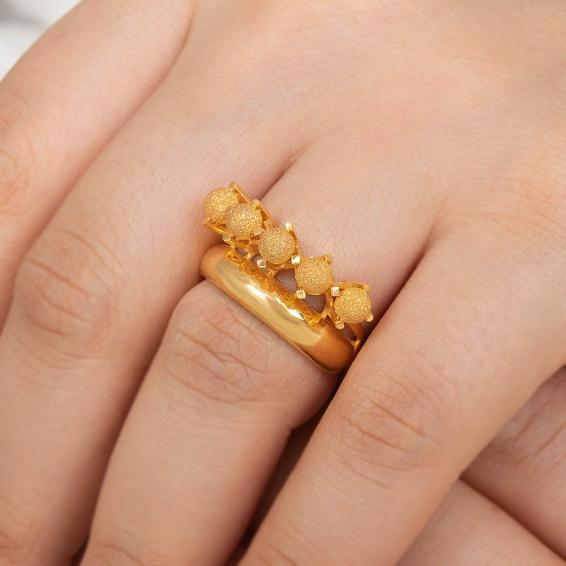 Mücevher Dünyası - 22 Ayar Kumlu Dorika Toplu Alyans Altın Fantezi Yüzük - 6,39 Gr. - 17