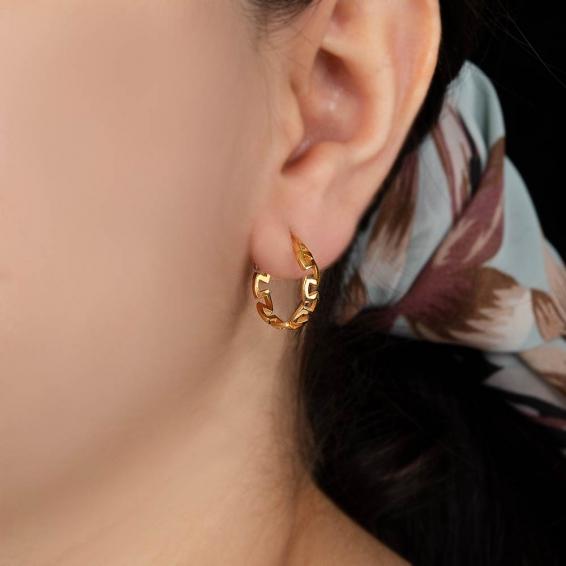Mücevher Dünyası - 22 Ayar Labirent Halka Altın Küpe -3,63 Gr.