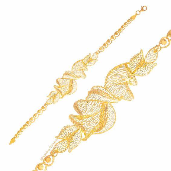 Mücevher Dünyası - 22 Ayar Lale Desenli Altın Bileklik - 9,40 Gr.