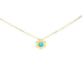 - 22 Ayar Mavi Boncuklu Çiçek Altın Kolye | Mücevher Dünyası