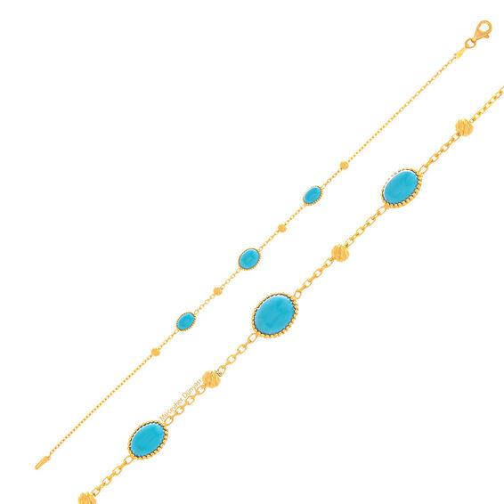 Mücevher Dünyası - 22 Ayar Mavi Taşlı Altın Bileklik - 3,20 Gr.